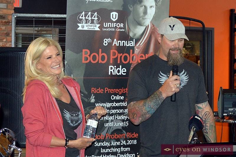 Dani Probert with Scott Parker during Bob Probert Memorial Ride media launch.