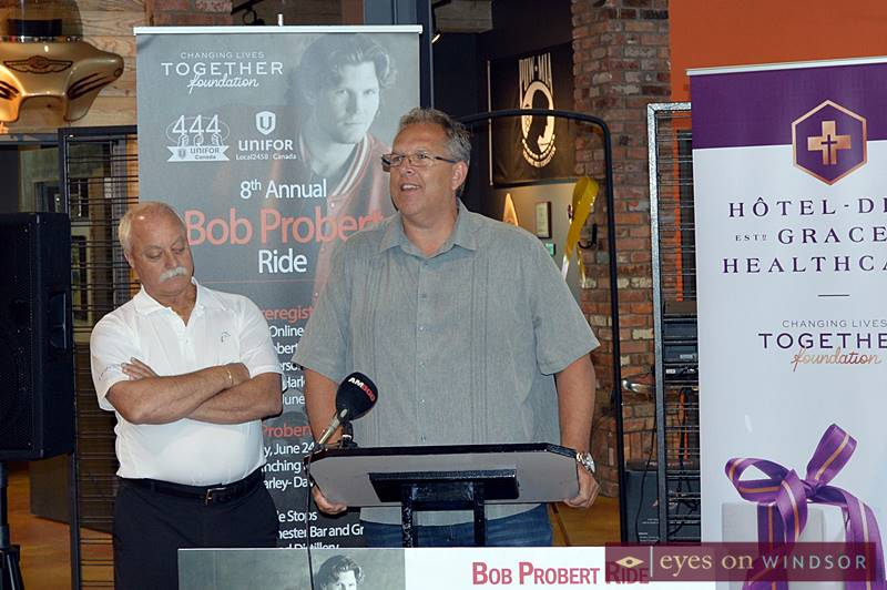 Tullio DiPonti (left), President Unifor 2458, and Dave Cassidy, President Unifor 444, speak on behalf of their respective locals, sponsors of the 8th Annual Probert Ride
