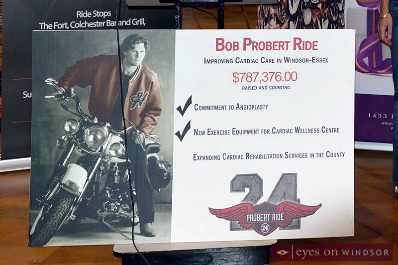 Probert Ride sign shows funds raised over the years by the event, goals achieved and goal currently in progress.