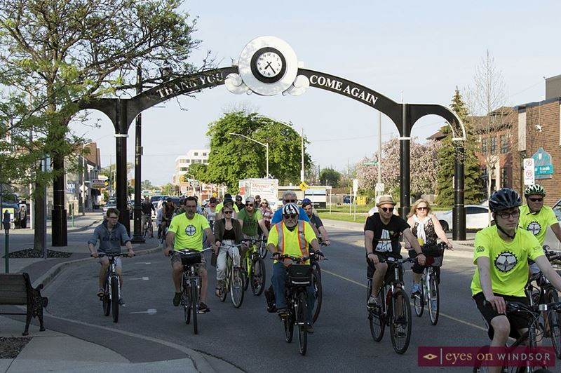 Ride of Silence Cyclists on Ottawa Street in Windsor, Ontario.