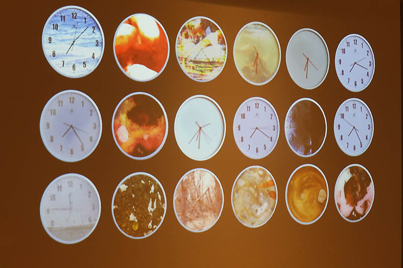Several clocks on display during the Noiseborder Festival, part of Jose Seoane's Time Room.