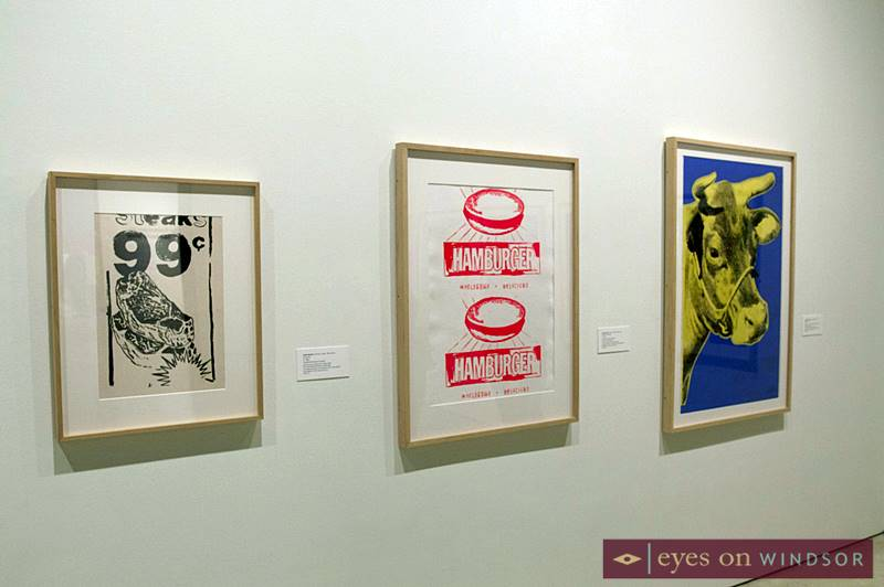 Andy Warhol screen prints of beef, hamburger wrappers, and ribs, on display as part of The Sandwich Project at the Art Gallery of Windsor.