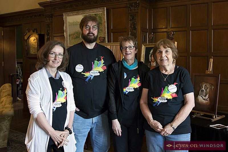 Members of the Windsor Essex Association of Representational Artists in Willistead Manor during Art In The Park