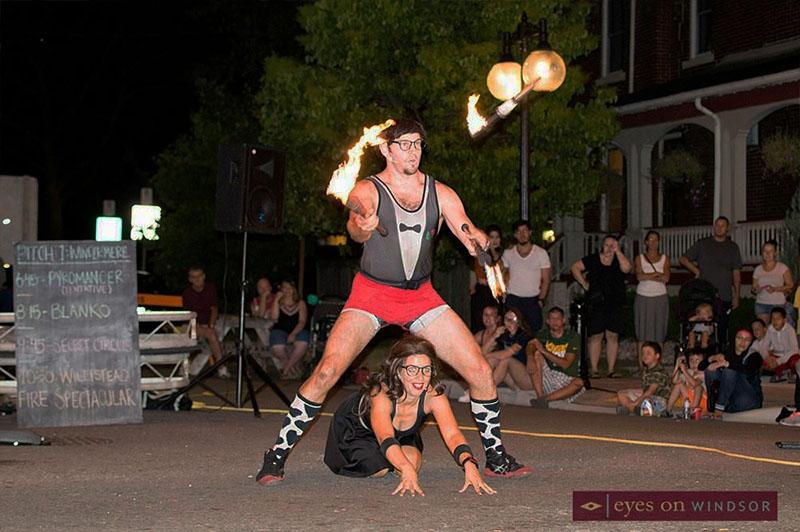 Secret Circus Buskers performing in Windsor, Ontario.