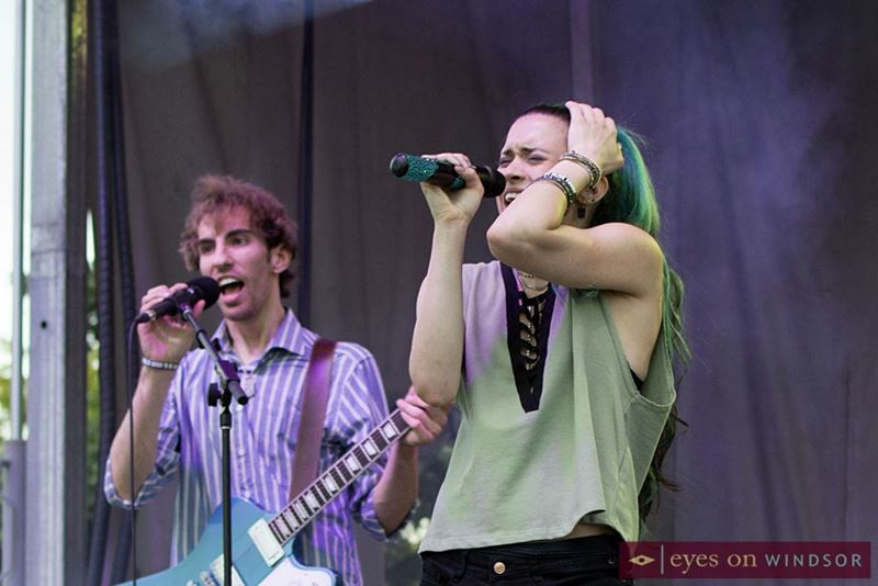 Peter Stratil (left) and Christie Palazzolo (right) performing at the Lasalle Strawberry Festival