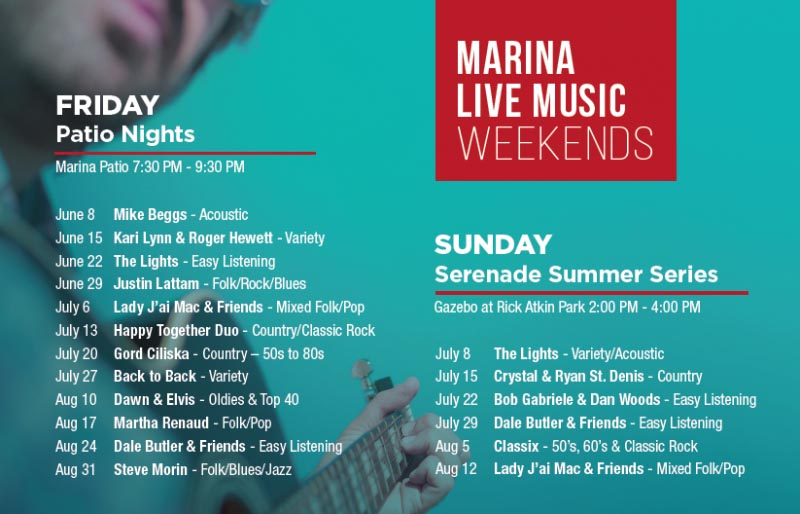 Leamington Marina Live Music Weekends (Friday Patio Nights & Sunday Serenade Summer Series) Poster