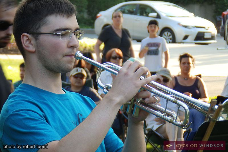 University of Windsor music student Matthew Lepain performs a trumpet solo