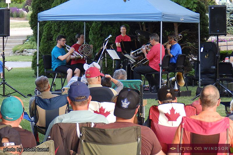 Windsor Symphony Orchestra's Brass Quintet performing at Reaume Park