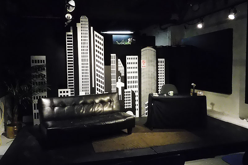 The set of Tall Tall Theatre's production of For The Love of Late Night