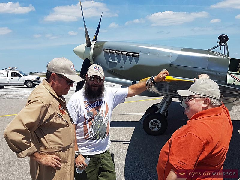Dave Hadfield, Erik Billing, and Bob Swaddling with the Roseland Spitfire.