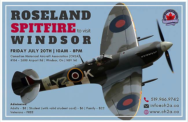 Roseland Spitfire to Visit Windsor, Ontario, Poster.