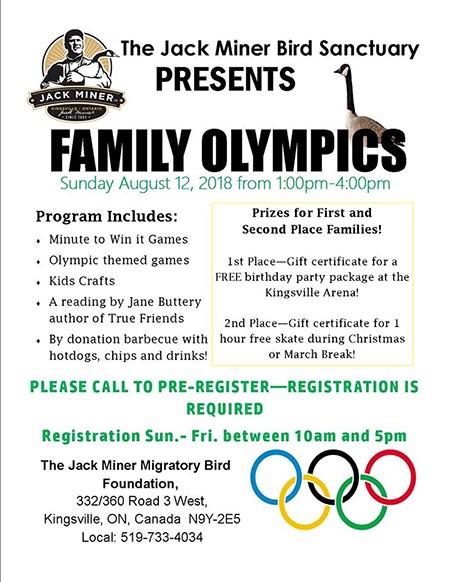 Jack Miner Family Olympics Poster