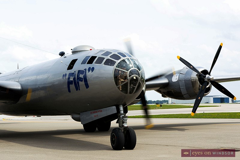 FIFI B-29 Bomber pulls into the Canadian Historical Aircraft Association