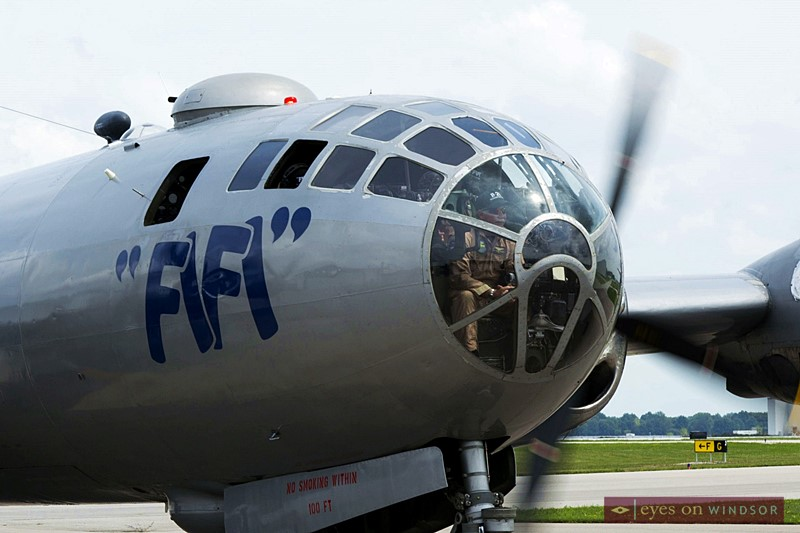 Nose of FIFI the vintage WWII B-29 Bomber shown as it arrives in Windsor, Ontario