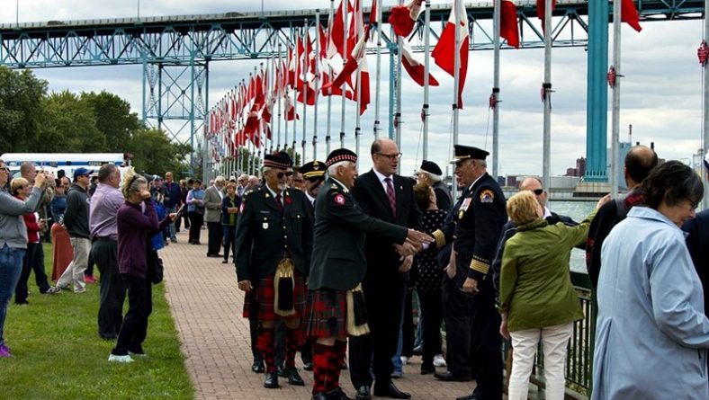 128 Flags of Remembrance Unfurled in Windsor For Canadian Veterans Killed & MIA