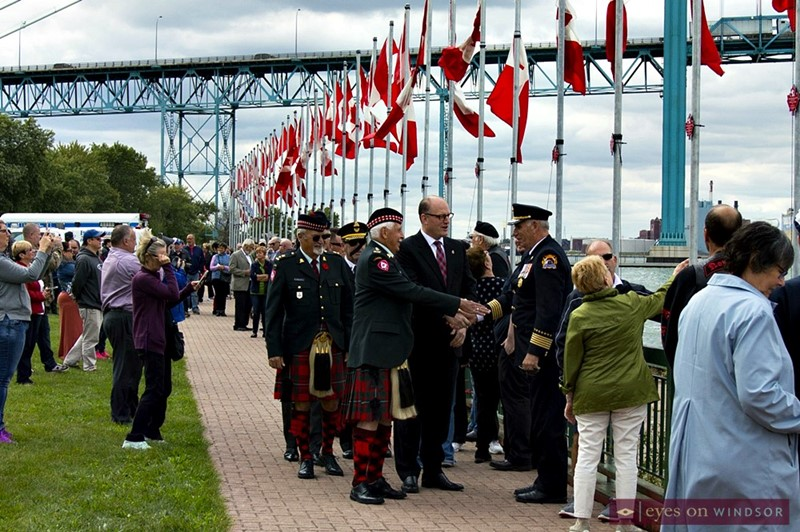 Veterans Voices of Canada Flags of Remembrance unfurling ceremony in Windsor, Ontario.