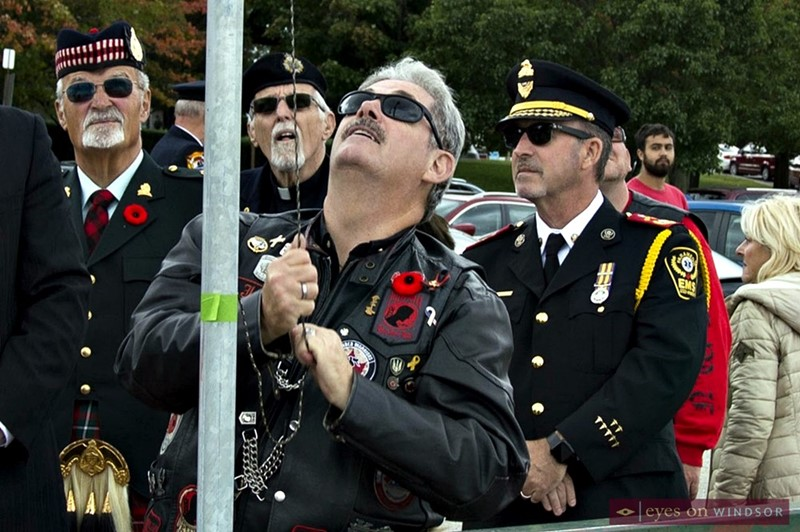Members of the Windsor North Wall Riders Association took part and sponsored plaques at the Veterans Voices of Canada Flags of Remembrance ceremony.