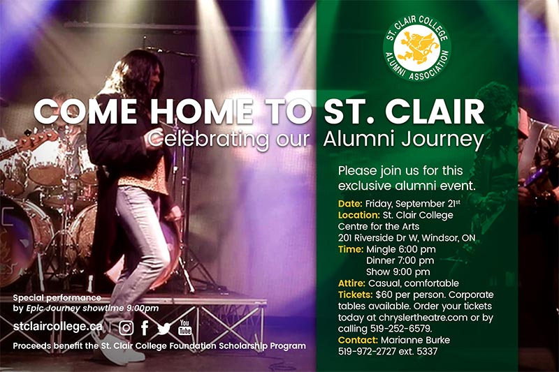Coming Home To St. Clair College Alumni Journey with EPIC Journey Showtime Tribute Show.