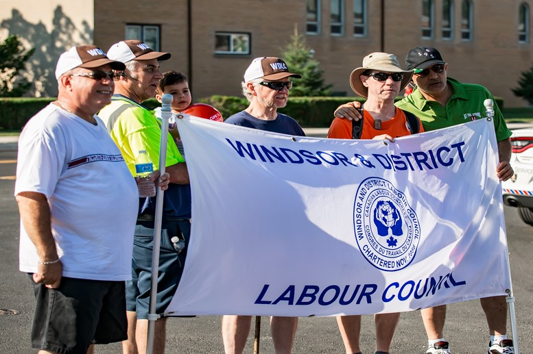 Members of the Windsor and District Labour Council leading the annual Labour Day Parade in Windsor, Ontario.