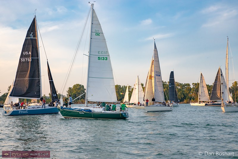 Sailboats in front of the Windsor Yacht Club