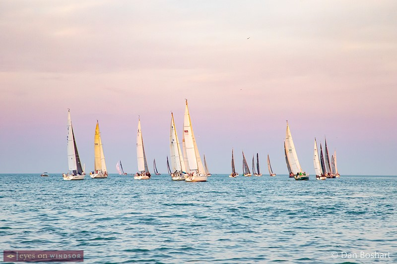 Sailboats racing out to Lake St. Clair during the annual Chimo Race