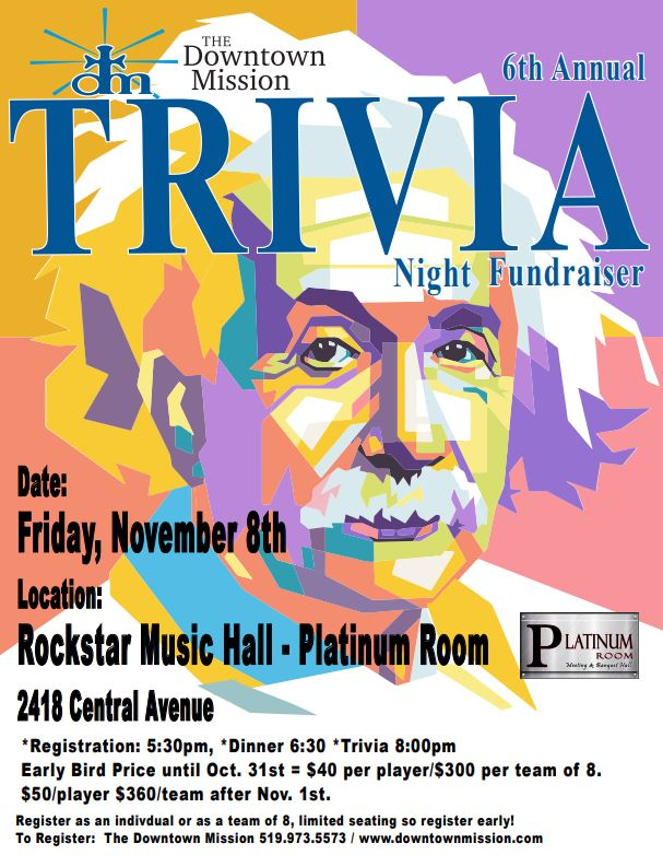 Downtown Mission Annual Trivia Night Poster