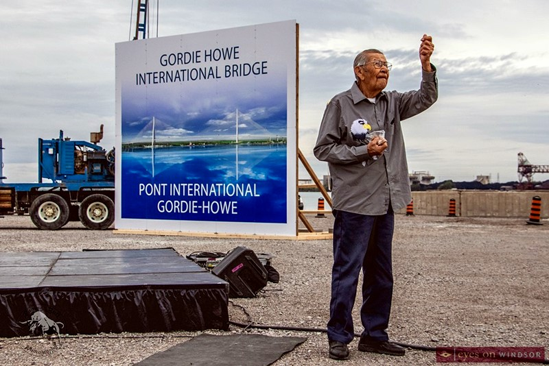 First Nation Walpole Island elder Cecil Eric Isaac says a prayer and blessing during the official construction start of the Gordie Howe International Bridge