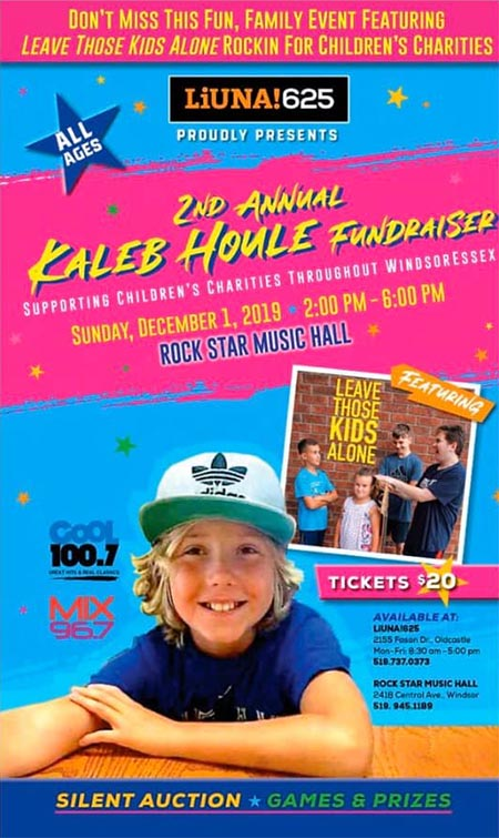 Kaleb Houle Fundraiser Concert for Children's Charities Poster