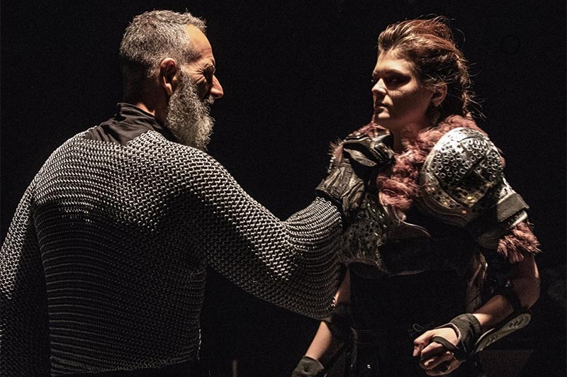 Dean Valentino (left) as Macduff, and Nicole Clark as Malcolm, in Korda Artistic Productions' Macbeth