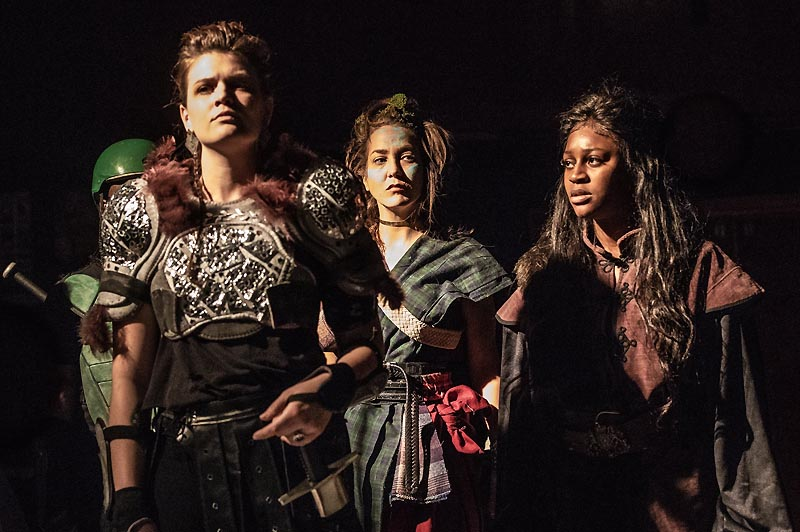 Nicole Clark as Malcolm , Carly Morrison-Hart and Kamilah Poku-Christian as The Sewards in Korda Artistic Productions' Macbeth