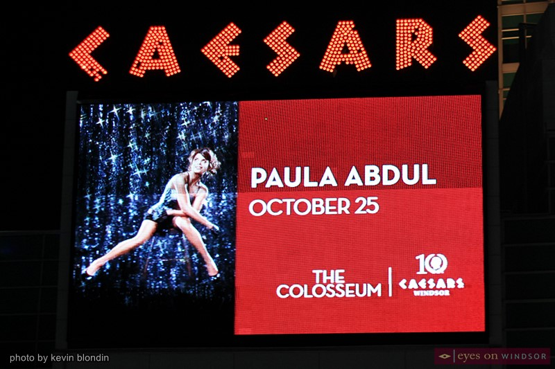 Caesars Windsor billboard announcing Paula Abdul