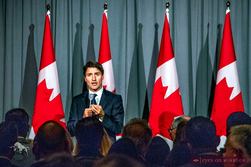 Prime Minister Justin Trudeau in Windsor, Ontario.