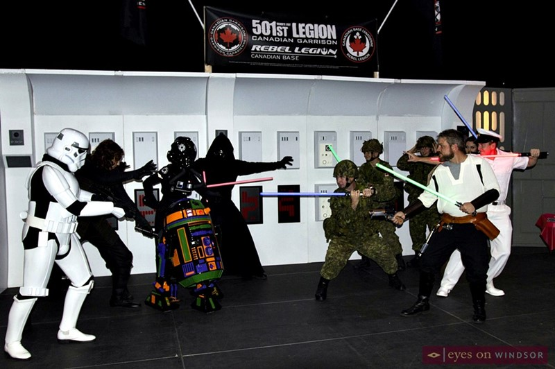 Canadian military members of the HMCS Hunter and 31 CBG cosplay with the 501st Legion and Rebel Legion during Windsor Comicon