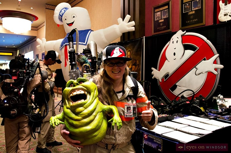 Slimer with Great Lakes Ghostbusters Coalition member during Windsor Comicon.