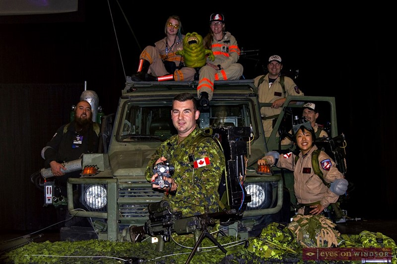 31 CBG's Steve Ghikadis is joined by members of the Great Lakes Ghostbusters Coalition during Windsor Comicon