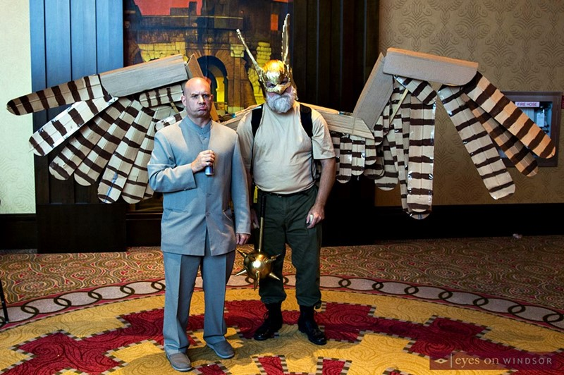 Dr. Stevil with cosplayer Ben Grondin as Hawkman at Windsor Comicon