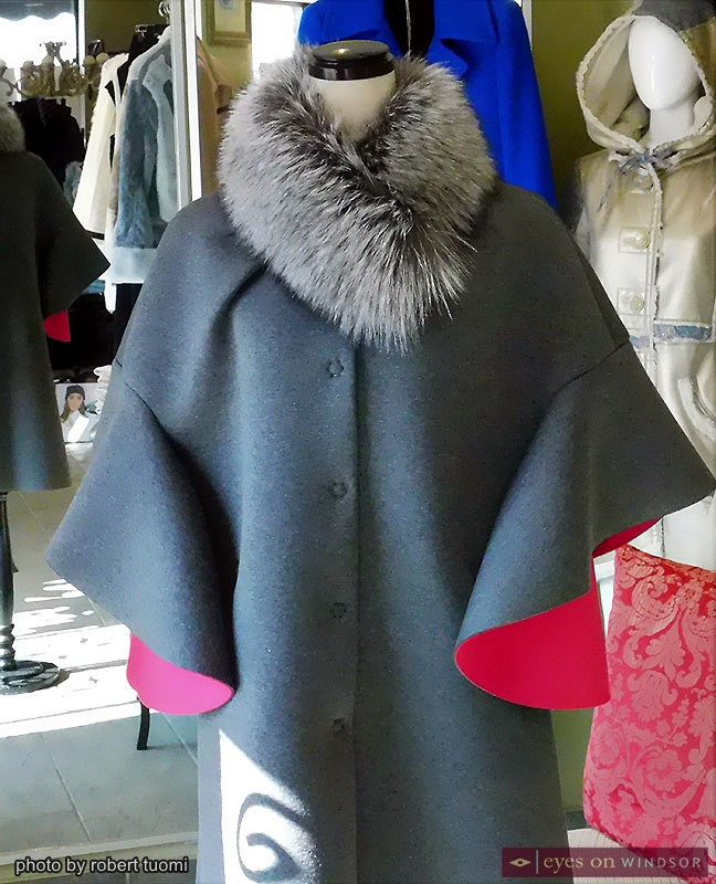 Winter coat on display at LaurAngelo Boutique in Windsor's Via Italia