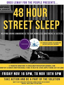 48 Hour Street Sleep Downtown Mission Fundraiser Poster