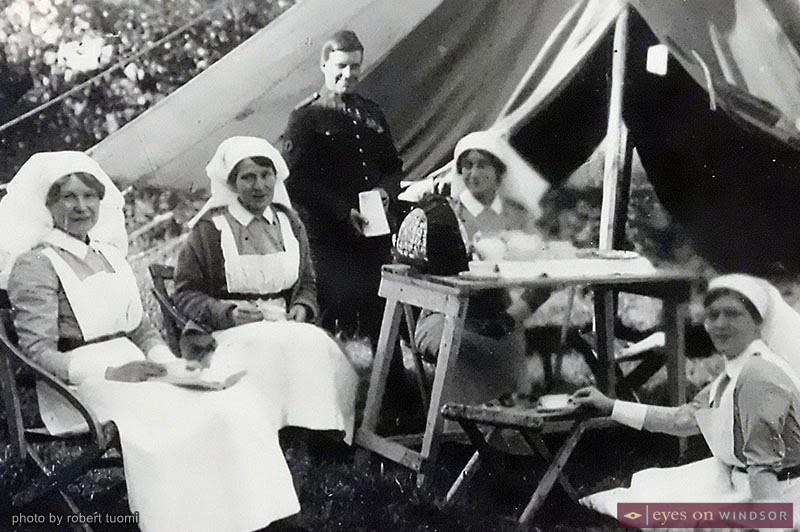 Canadian nurses on a tea break during WWI
