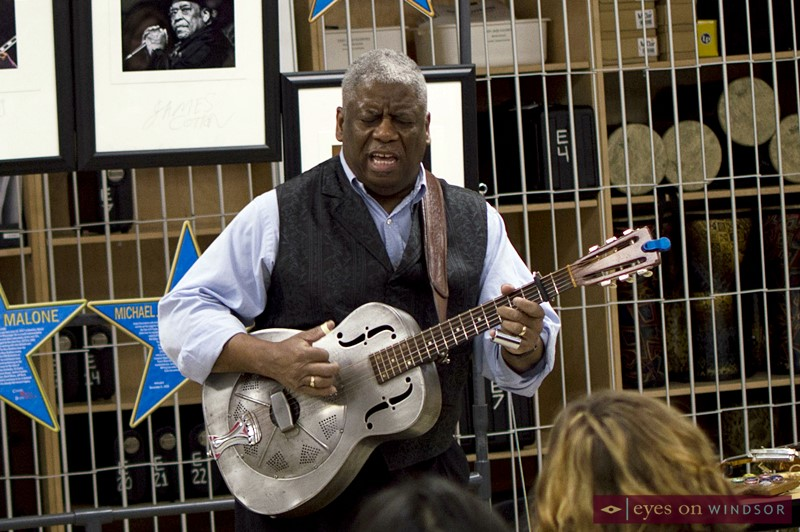 Reverend Robert B. Jones, Sr. performing during the Canada South Blues Society's inaugural Blues In The Schools workshop.