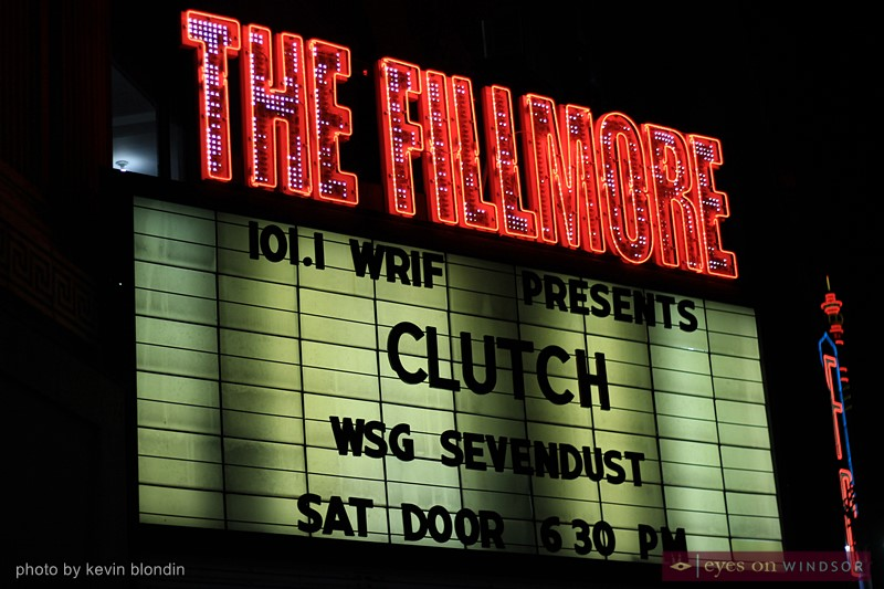 The Fillmore Detroit sign promoting Clutch.