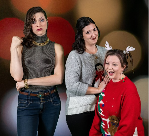Cast members of Post Productions' Another F***-ing Christmas Play, Carla Gyemi as Noelle, Jules Walton as Yula, and Samantha Lillian as Holly.