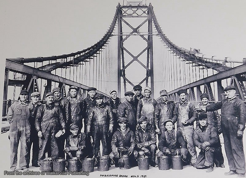 Construction crew show during the building of the Ambassador Bridge