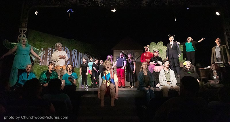 Cast gathers on stage for the Curtain Call of Korda's Pinocchio