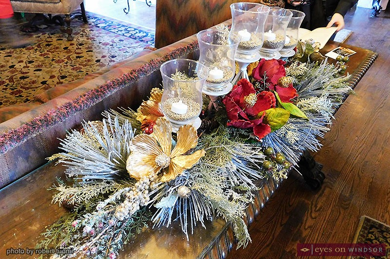 Holiday Candle Christmas Arrangement at Willistead Manor.