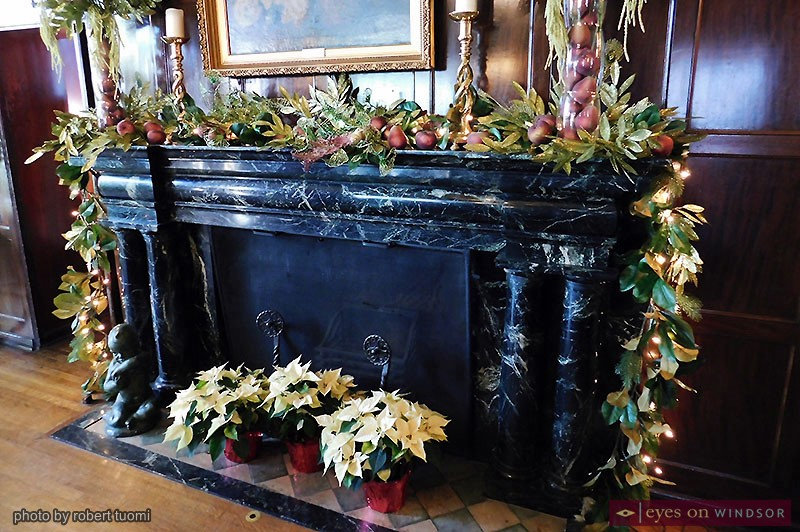 Willistead Manor dining room fireplace decorated for the holidays.