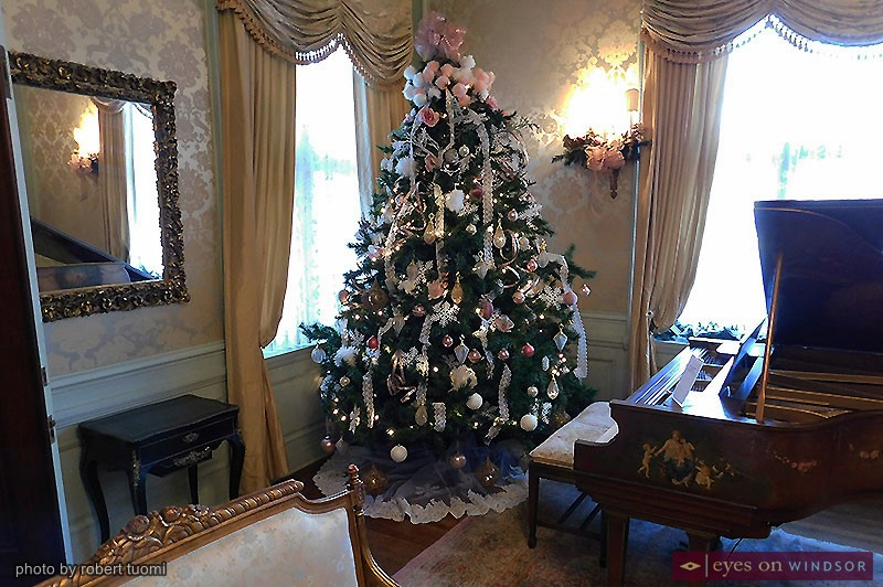 Willistead Manor's Drawing Room included a Christmas Tree as part of the Holiday House Tour.