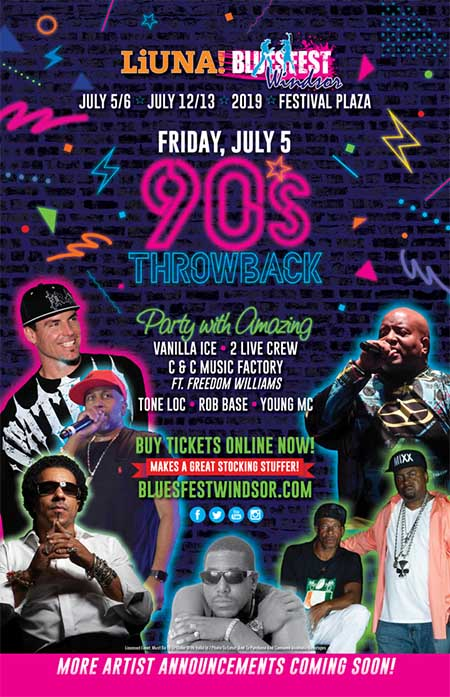 90s Throwback Rap Concert Bluesfest Windsor Poster