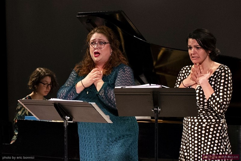 Claire Harris (piano), Erin Armstrong, and Brianna DeSantis performing during Abridged Opera concert.