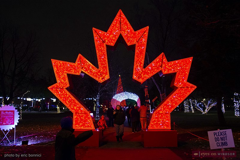 Giant Red Lighted Maple Leaf at Bright Lights Windsor